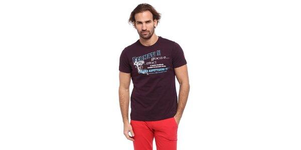 Pánske vínové tričko s modro-bielou potlačou Cooperativa