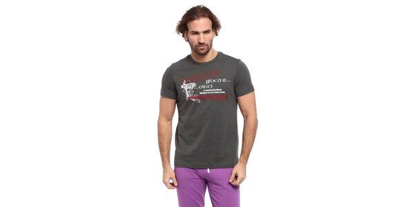 Pánske šedé tričko s červeno-bielou potlačou Cooperativa