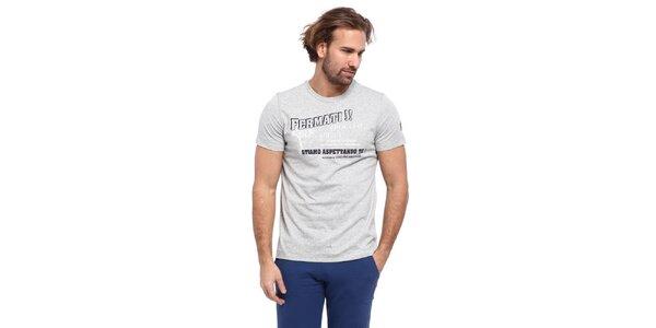 Pánske svetlo šedé tričko s čierno-bielou potlačou Cooperativa