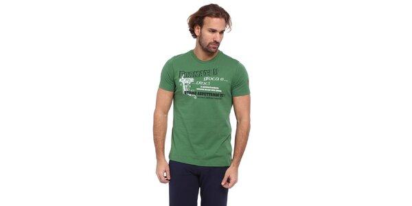 Pánske zelené tričko s čierno-bielou potlačou Cooperativa