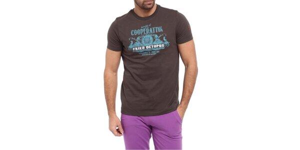 Pánske hnedé tričko s krátkým rukávom a potlačou Cooperativa