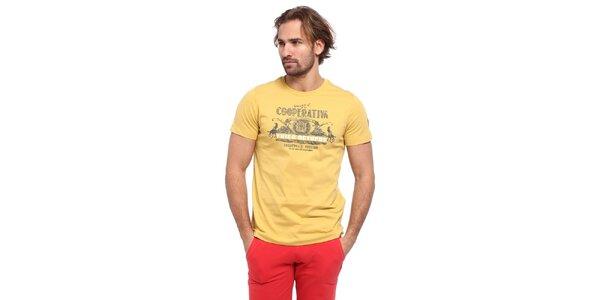 Pánske žlté tričko s krátkým rukávom a potlačou Cooperativa