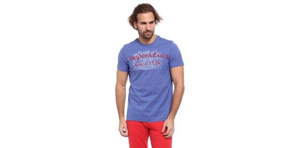 Pánske nebesky modré tričko s červeno-bielou potlačou Cooperativa