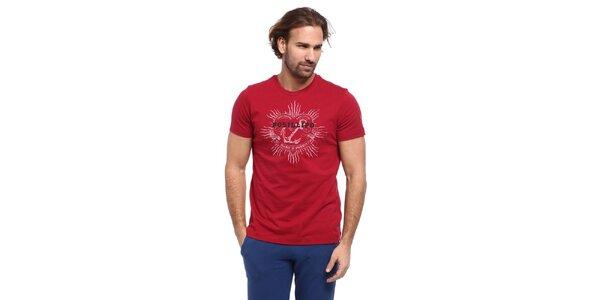 Pánske červené tričko s potlačou kotvy Cooperativa