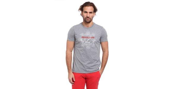 Pánske svetlo šedé tričko s potlačou kotvy Cooperativa