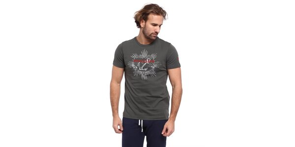 Pánske šedé tričko s potlačou kotvy Cooperativa