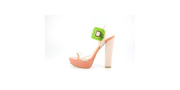 Dámske svetlo ružové lakované sandálky La Strada so zelenou sponou