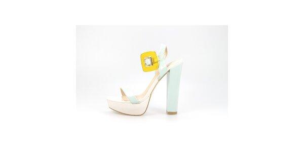 Dámske krémovo-mentolové lakované sandálky La Strada so žltou sponou