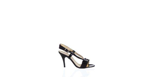 Dámske čierne kožené sandálky Gianfranco Ferré