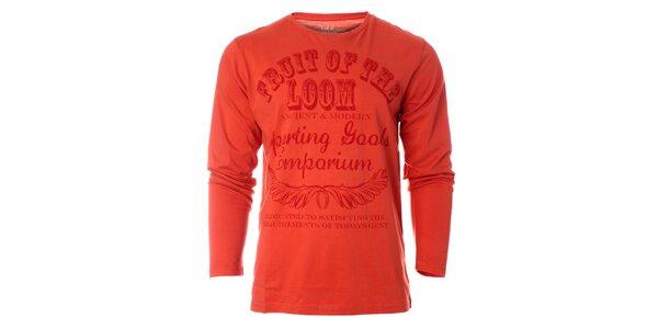 Pánske oranžové tričko Fruit of the Loom s potlačou