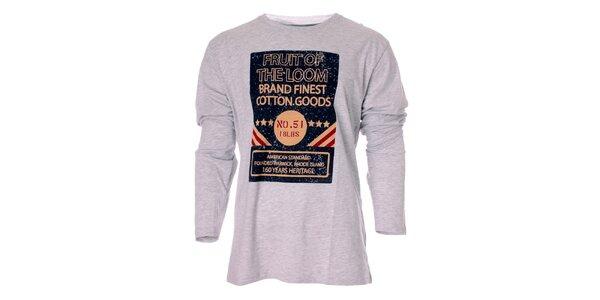 Pánske svetlo šedé tričko Fruit of the Loom s potlačou