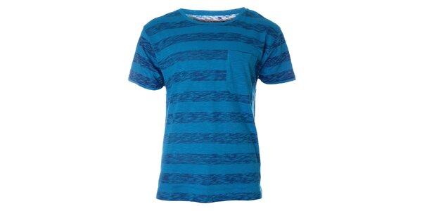 Pánske modré pruhované tričko Fruit of the Loom