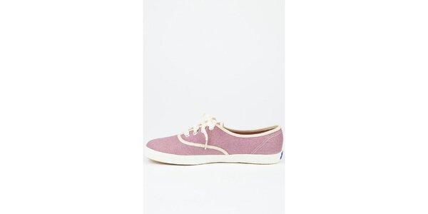 Dámske svetlo ružové plátené tenisky Keds