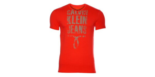 Pánske žiarivéčervené tričko Calvin Klein s potlačou