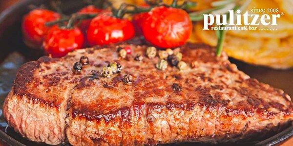 250g Milánsky teľací steak s prílohou a domácou slepačou polievkou v Pulitzeri