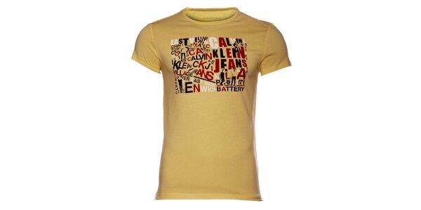 Pánske žlté tričko Calvin Klein s farebnou potlačou
