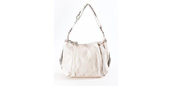 Dámska svetlo béžová kožená kabelka Luisa Vannini