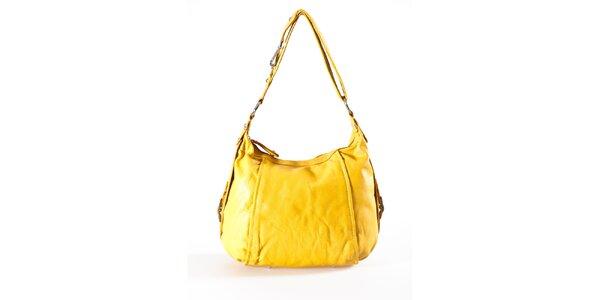 Dámska kanárikovo žltá kožená kabelka Luisa Vannini