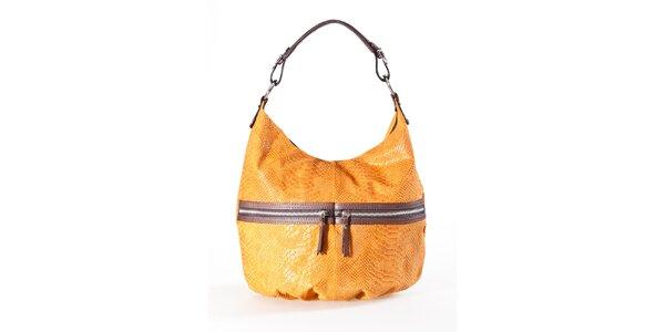 Dámska ťavia kabelka s hadím vzorom a dvojitými zipsami Luisa Vannini