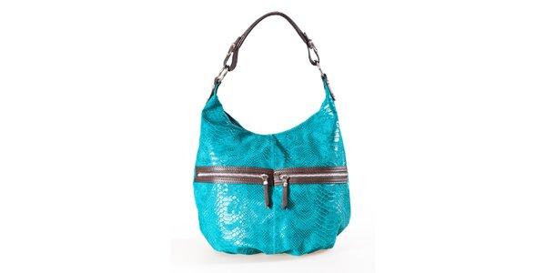 Dámska tyrkysovo-hnedá kabelka s hadím vzorom a dvojitými zipsami Luisa Vannini