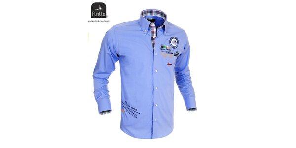 Modrá športová košeľa z dielne Pontto