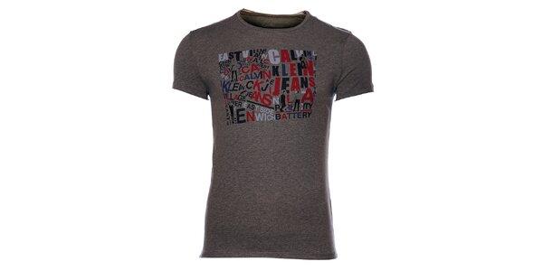 Pánske tmavo šedé melírované tričko Calvin Klein s farebnou potlačou