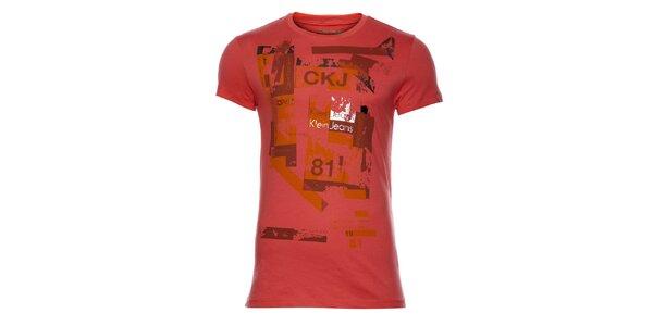 Pánske ružové tričko Calvin Klein s potlačou