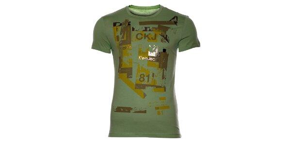 Pánske svetlo zelené tričko Calvin Klein s potlačou