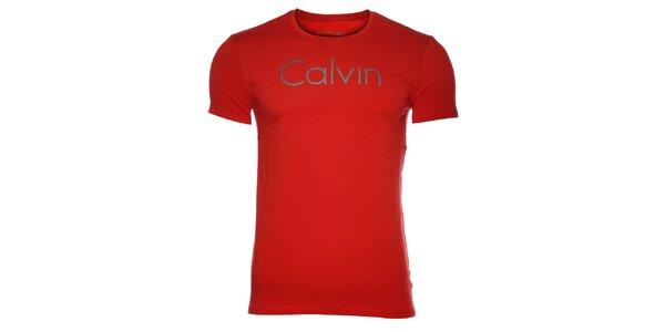 c4ca15c66167 Pánske červené tričko Calvin Klein s potlačou
