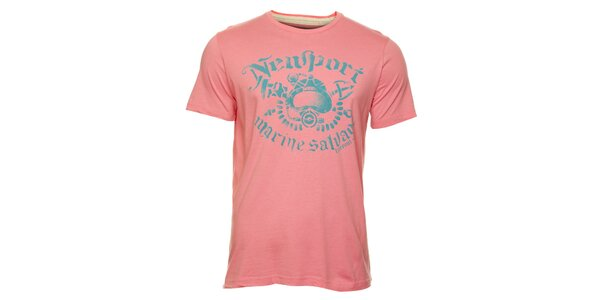 Pánske ružové tričko Timeout s modrou potlačou