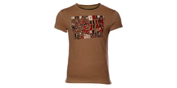 Pánske hnedé tričko Calvin Klein s potlačou