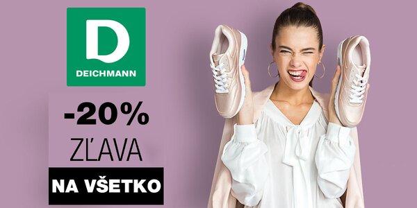 Doplňte si skrinku na topánky: 20 % zľava na všetko z on-line obchodu Deichmann