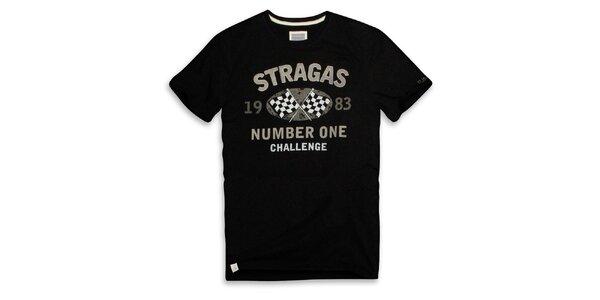 Pánske čierne tričko s šedou potlačou Paul Stragas