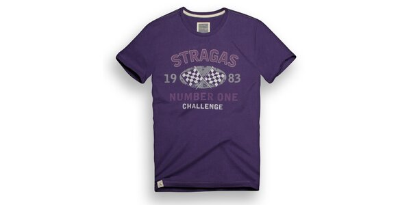 Pánske fialové tričko s potlačou Paul Stragas