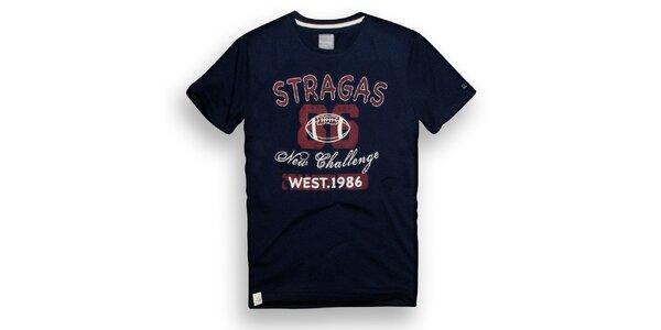 Pánske tmavo modré tričko s potlačou Paul Stragas