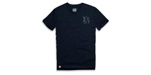 Pánske tmavo modré bavlnené tričko s ornamentom Paul Stragass