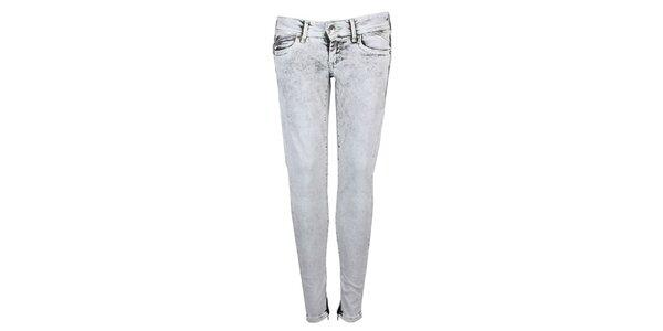 Dámske šedé vyšisované skinny Pepe Jeans