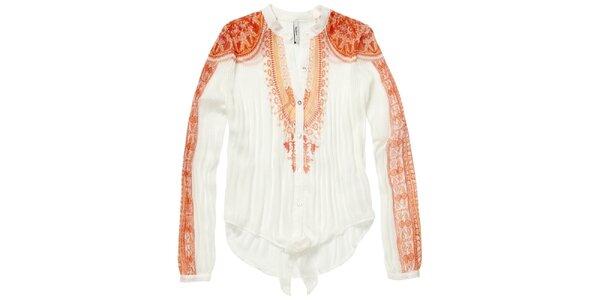 Dámska oranžovo-biela plisovaná košeľa Pepe Jeans