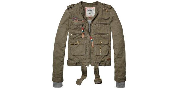 Dámska khaki bundička s farebnými detailami a opaskom Pepe Jeans