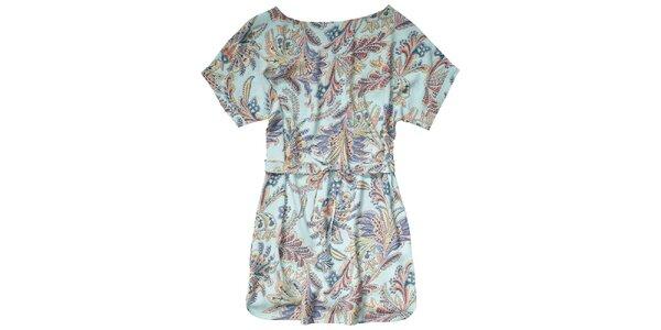 Dámske vodové šaty s béžovo-modrými vzormi Pepe Jeans