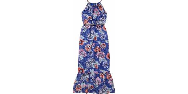 Dámske modré maxišaty s opaskom a kvetinovým vzorom Pepe Jeans