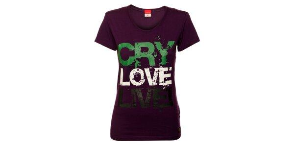 Dámske fialové tričko s potlačou Sam 73