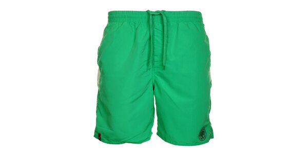 Pánske zelené šortky s pruhmi na zadnom diele Sam 73