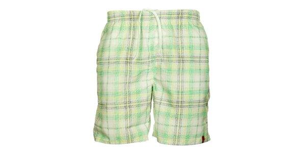 Pánske zeleno-krémové kockované šortky Sam 73