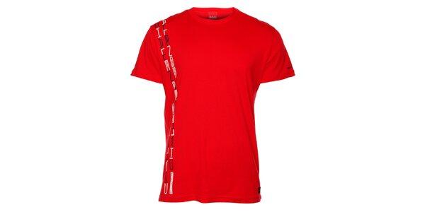 Pánske červené tričko so zvislou potlačou Sam 73