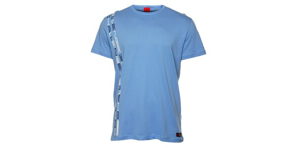 Pánske svetlo modré tričko so zvislou potlačou Sam 73