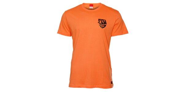 Pánske oranžové tričko s čiernou potlačou Sam 73