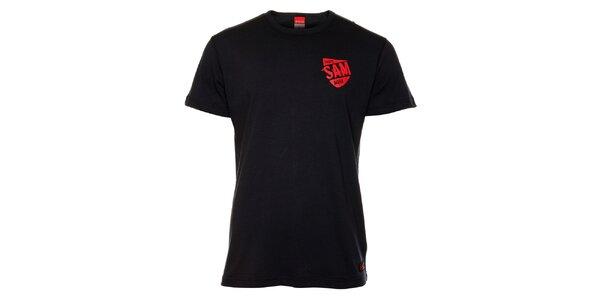 Pánske čierne tričko s červenou potlačou Sam 73