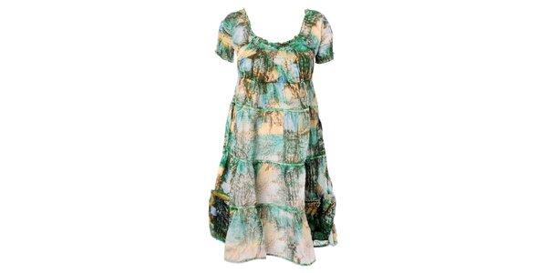 Dámske zeleno-žlté volánové šaty Bleifrei