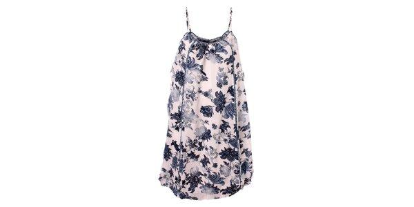 Dámske modro-biele kvetinové šaty Bleifrei